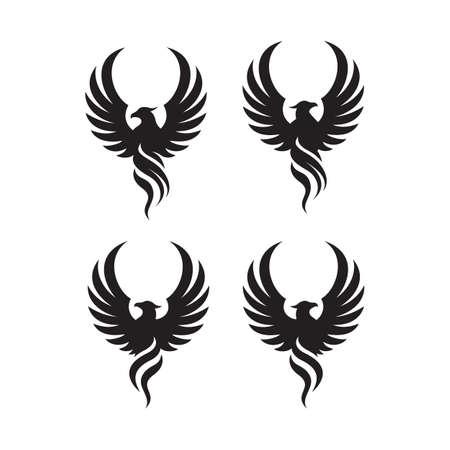 flying rise wings phoenix bird Logo design vector illustrations Banque d'images - 128951209