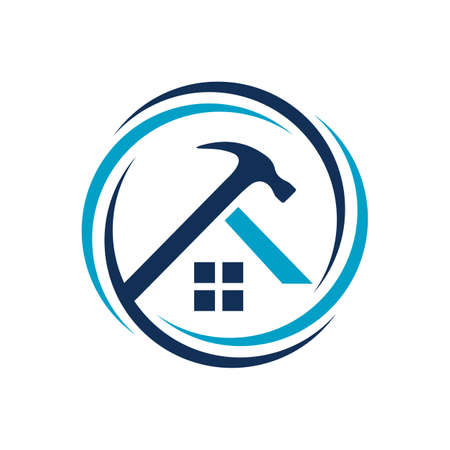 Home Repair Logo with Creative home and tools construction concept