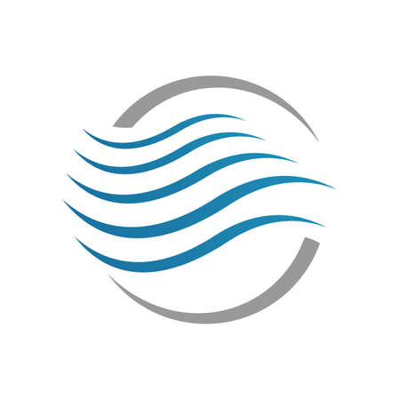 Modern Water Waves logo Design of blue ocean sign Vector icon Template