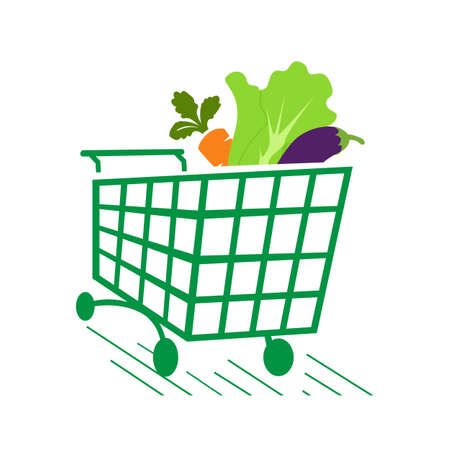 vegetables on shopping cart grocery logo icon design symbol vector illustrations Çizim