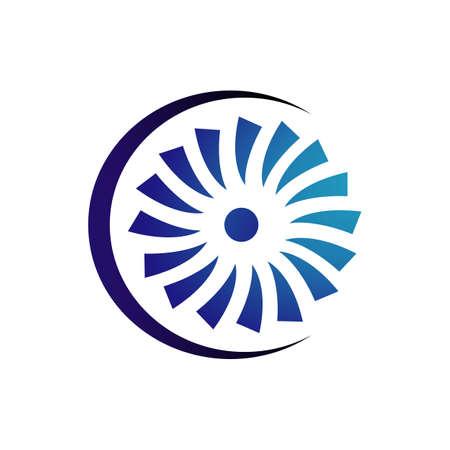 creative abstract wind turbine logo design vector illustrations Çizim