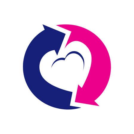 two way arrow the symbol of love heart logo design vector illustration