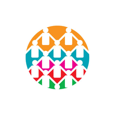 abstract connected unity people community logo design vector illustrations