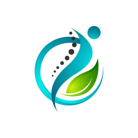 creative human health care physiotherapy chiropractic concept logo design Stock Illustratie