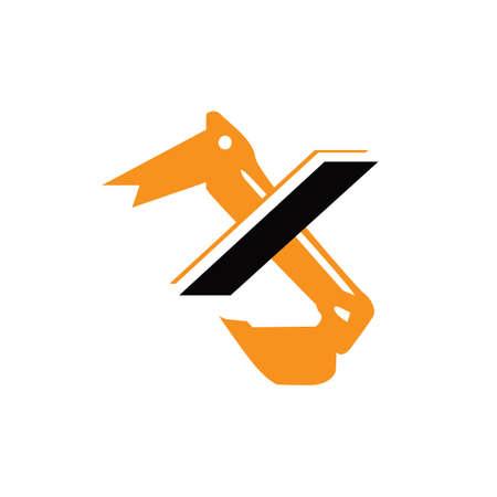 creative construction machine letter X excavator logo design vector