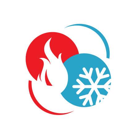 résumé, chauffage et refroidissement, hvac, logo, conception, vecteur, entreprise commerciale