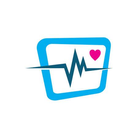 cardiogram beats of Heart monitor vector logo design sign symbol Stock Vector - 128956081