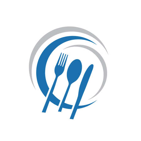 Knife Spoon and Fork Abstract logo Vector Graphic food icon symbol for cooking business cafe or restaurant Stock Vector - 128956191