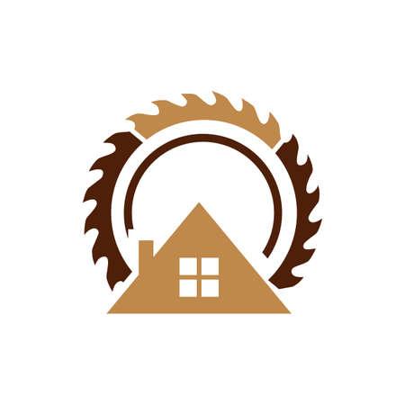 Woodworking sawmill logo design template vector element Ilustracja