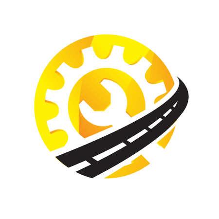 maintenance road construction logo design creative sign concept design template