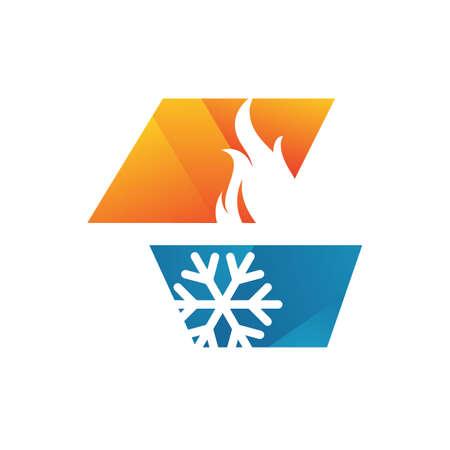résumé, chauffage et refroidissement, hvac, logo, conception, vecteur, entreprise commerciale Logo