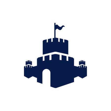 Modèle d'icône de conception de vecteur de logo de forteresse de château créatif Logo