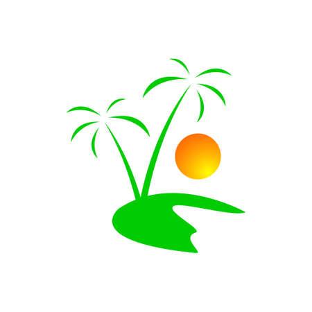 creative tropical summer beach logo design template Vector illustration Stockfoto - 128959342