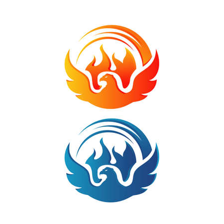 flying rise wings fire phoenix bird Logo design vector illustrations Banque d'images - 128959859