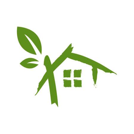 drawing sketch green house logo design vector icon illustratio 向量圖像