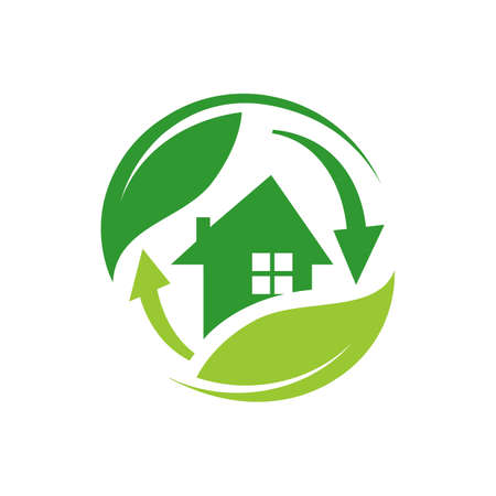 Green house logo vector. Eco green home. Eco Friendly house icon.
