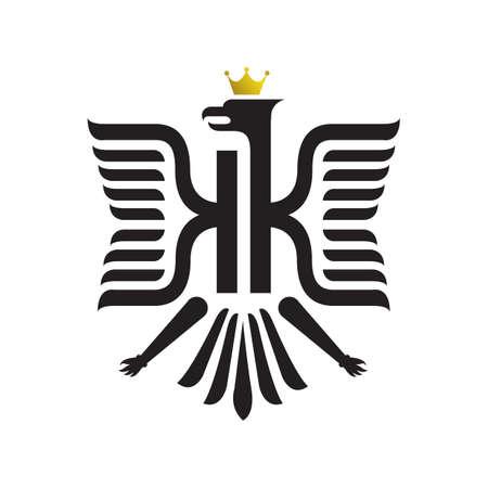 medieval heraldic crest shield emblem powerful bird coat of arms logo