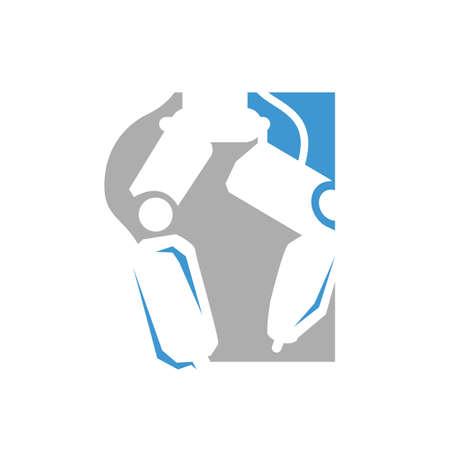 modern flat creative robotic surgery logo design vector illustrations 일러스트