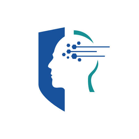 human head, shield, lines and dots an Artificial Intelligence logo icon symbol vector design