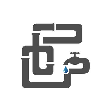 sanitary plumbing logo symbol icon of pipe and drop water in white background vector illustration