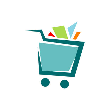 a trolley shopping cart logo icon design shop symbol vector illustrations  イラスト・ベクター素材