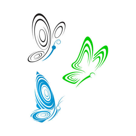 abstract butterflies a Beauty Butterfly logo design template Vector illustration  イラスト・ベクター素材