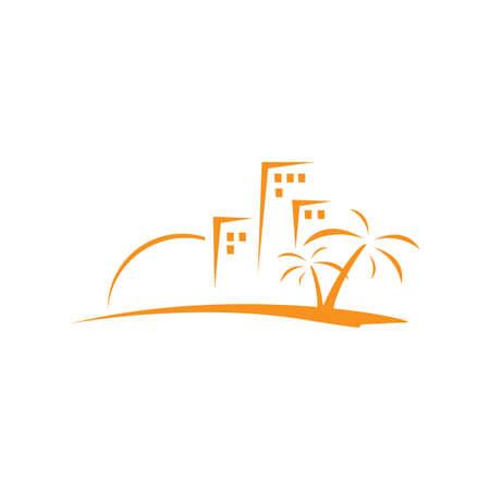summer beach house logo design template Vector illustration Logo