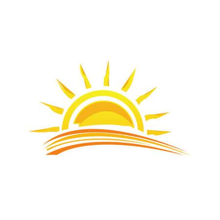 illustration a Sunshine sunset yellow sun logo design vector symbol icon Illusztráció