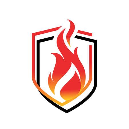 security fire shield logo vector design illustration