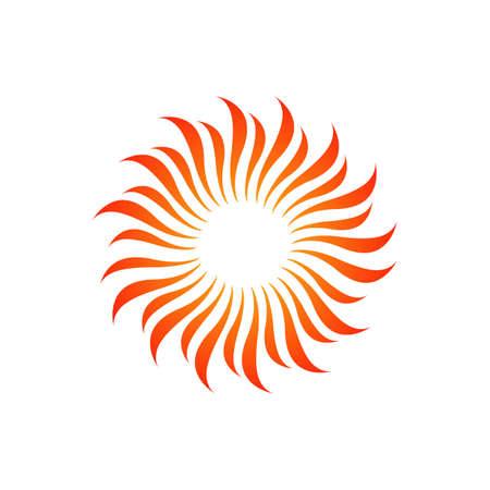 orange yellow Sun logo design vector icon illustration