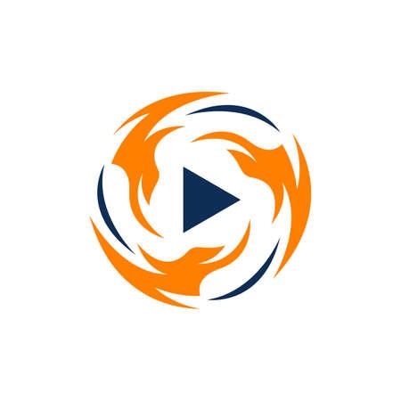 tech media fire play button logo design icon vector illustration