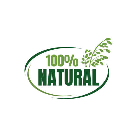 100% percent natural food logo design vector banner illustrations
