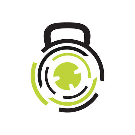 modern gym fitness kettlebell logo design vector template illustrations