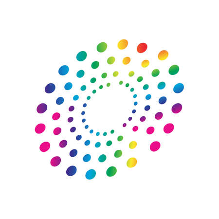 colorful rainbow circles dot pattern circular shape element vector Vector Illustratie