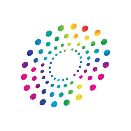 elemento di forma circolare del modello di punti dei cerchi arcobaleno colorato vettore Vettoriali