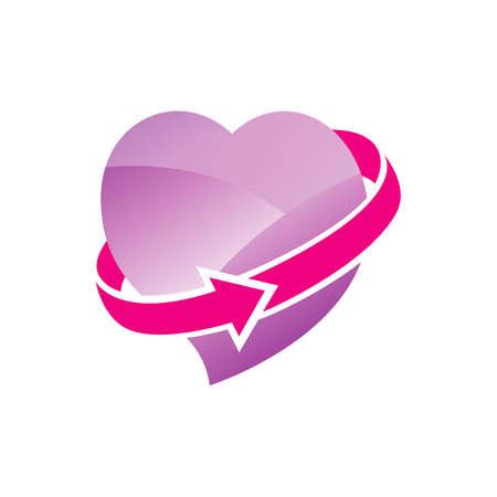 infinity improvement love heart logo design vector illustration