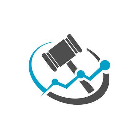 law firm or legal office concept gavel logo design vector illustration concept