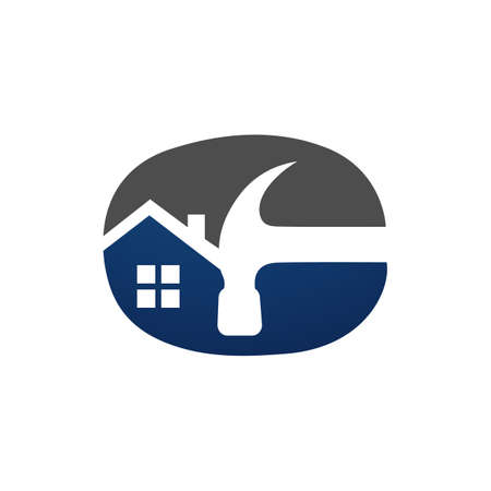 Home Repair Logo with maintenance tools and house construction concept  イラスト・ベクター素材