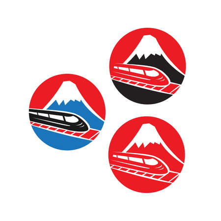 Japanese red logo with Fuji mountain and speed train isolated on white background