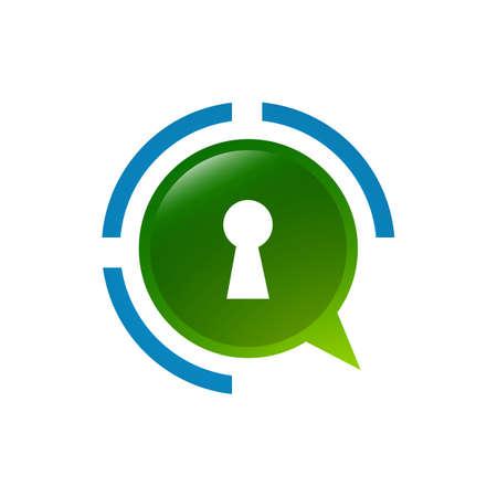 safety for privat chat secret logo design sign concept design template Illustration