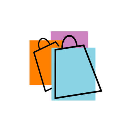 shopping bag logo design icon online shop symbol vector illustrations Illustration