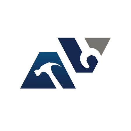 Working tools repair service logo design concept vector icon template