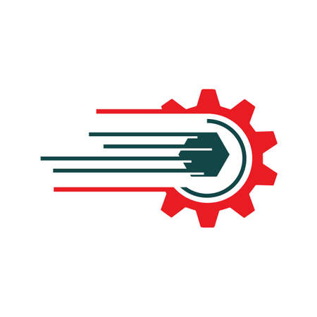 sporty speed gear and cogs logo design vector illustration
