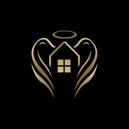 the house of angel real estate logo vector design for property business