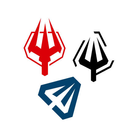 simple mark trident logo vector brand design template illustrations Ilustrace