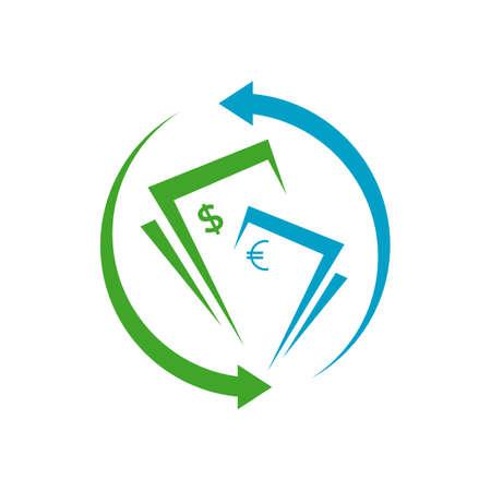 simple money transfer logo vector concept design icon illustration