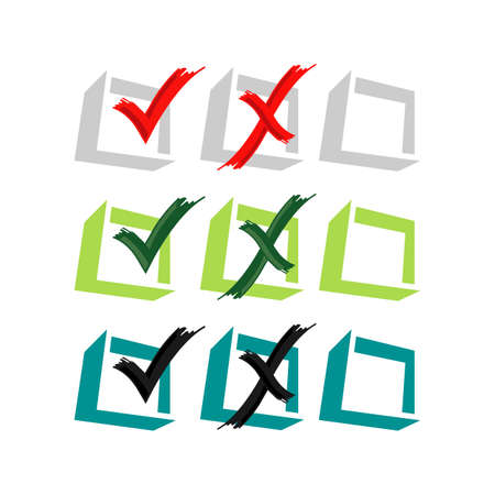 voting Yes or No vector logo design False or True icon in trendy design style  イラスト・ベクター素材
