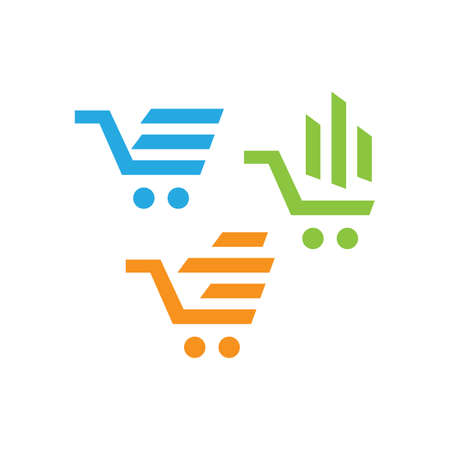 abstract trolley shopping cart logo icon design shop symbol vector illustrations