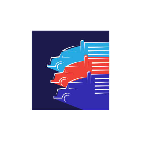 new heavy transportation parking truck logo design vector logotype sign illustration