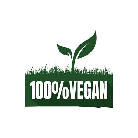 new lettering 100% percent vegan logo sign mark green vegetarian symbol vector icon element